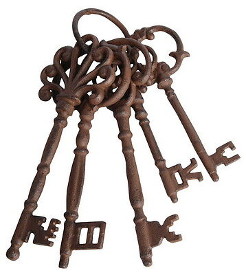 Vintage Antique Old Victorian Look Large 5 Pcs Cast Iron Skeleton Keys Set Decor
