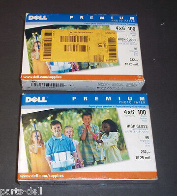 LOT OF 2 NEW Genuine Dell Premium High Gloss 4x6 100 Sheet Photo Paper -