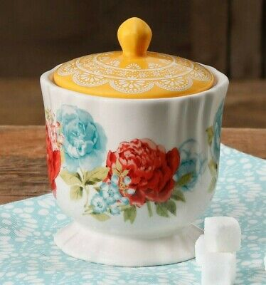 Pioneer Woman Stoneware Blossom Jubilee Floral Sugar Bowl Canister Jar Lid NEW Blossom Sugar Bowl