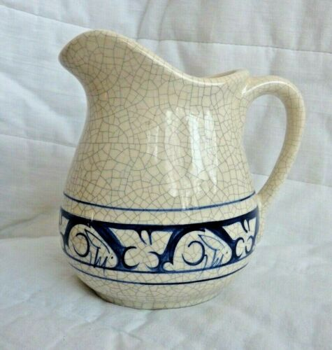Dedham Pottery The Potting Shed Pitcher #AACG 94 With Cobalt Blue Rabbit Design