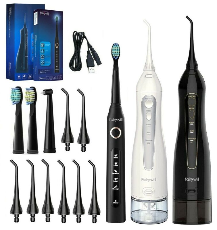 Fairywill Water Flosser Oral Irrigator Teeth Cleaner & 5 Modes Sonic Toothbrush
