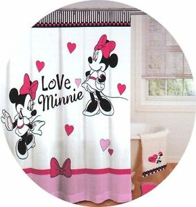 Disney Minnie Mouse Love Hearts Bathroom Shower Curtain Fabric Pink Black New