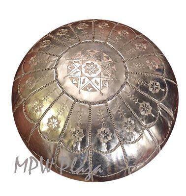 - Pouf Ottoman, Full Arch, Silver, Stuffed, Moroccan Pouf, Ottoman, Pouffe