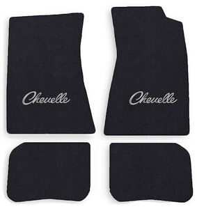NEW! 1968-1972 CHEVELLE Floor Mats Black Carpet Embroidered SILVER LOGO Set of 4