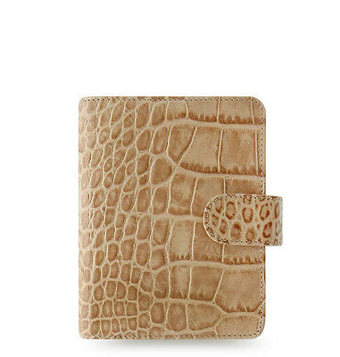 Filofax Pocket Classic Croc Organiser Planner Diary Plan Fawn Leather - 026010
