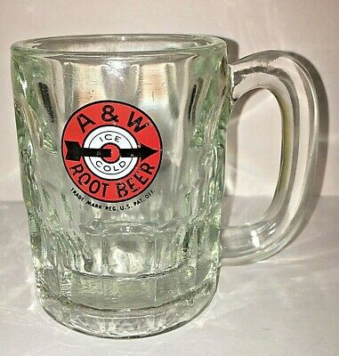 "Vintage A & W Ice Cold Root Beer Mug Arrow 4-1/4"" Tall"