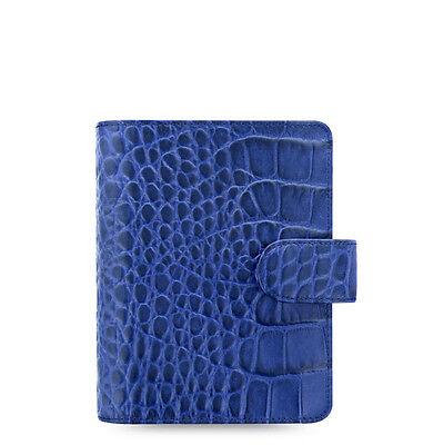 Filofax Pocket Classic Croc Organiser Planner Diary Plan Indigo Leather - 026006