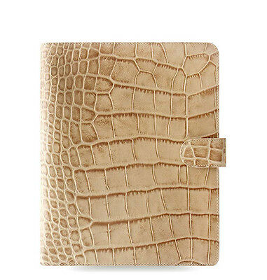 Filofax A5 Classic Croc Organiser Planner Diary Notebook Fawn Leather - 026013