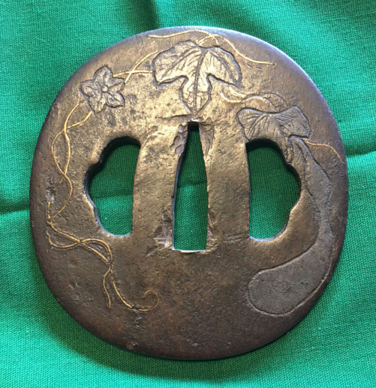 IRON TSUBA Antique Higo School sword guard koshirae tosogu katana daito