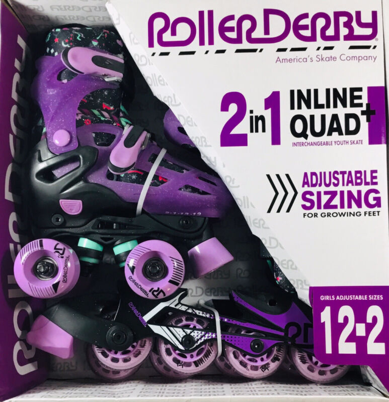 Roller Derby Skates 2 In 1 Inline + Quad Combo Adjustable Sizes 12-2 NIB Purple