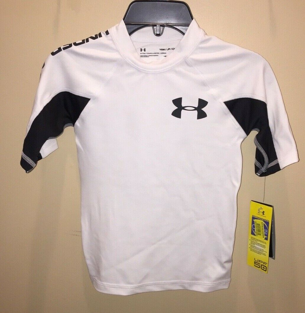 Under Armour Boys Small Rash Guard Swim Shirt Top UPF 50+ Wh