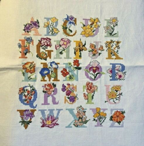 Stitching Complete, Counted Cross Stitch, Large Design, Alphabet, Floral, Pastel