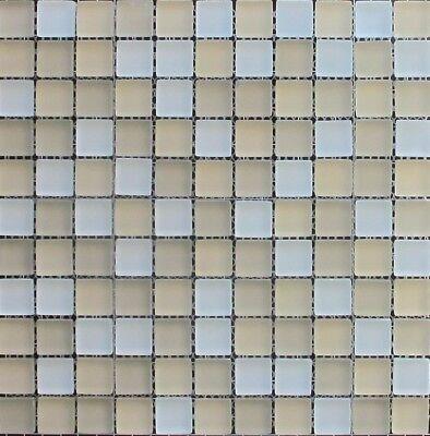 1X1 Palm Beach Blend Glass Mosaic Tile Matte Frosted Finish Backsplash BOX OF 10
