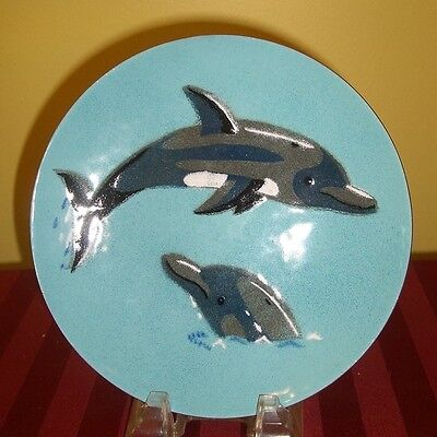 VINTAGE ENAMEL on COPPER 7.5 inch PLATE DOLPHINS ANNEMARIE DAVIDSON MID CENTURY