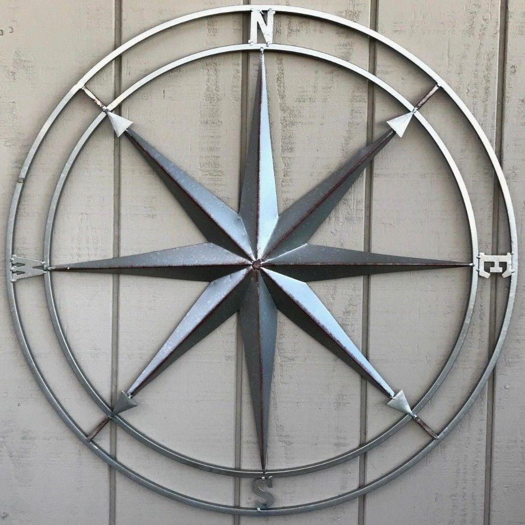 Details About 32 Metal Wall Art Antique Retro Compass Rustic Farm House Wall Art Home Decor