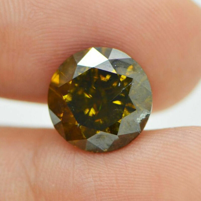 Loose Champagne Diamond Color 5.96 Carat Natural Enhanced Si3 Round Brilliant