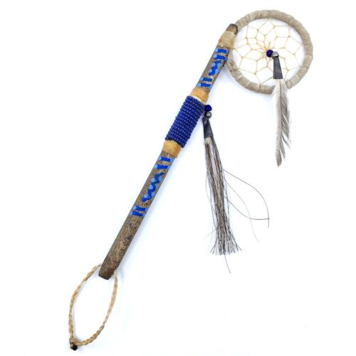 """New Navajo Hand Painted Mini Coup Stick w/Dream Catcher and Cobalt Blue Beads 8"""""""