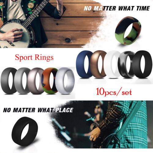 Silicone Wedding Band Ring Men Women Sports Flexfit Rubber B