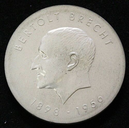 East Germany DDR 1973 Bertolt Brecht 10 Mark Silver Coin. KM #45