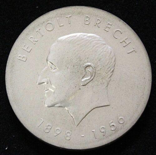 East Germany DDR 1973 Bertolt Brecht 10 Mark Silver Coin. KM #45