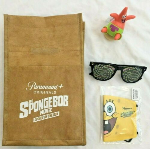 The SpongeBob Movie SPONGE ON THE RUN Lunch Bag GLASSES Facemask PATRICK STAR
