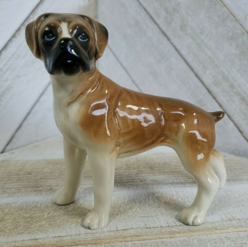 """Vintage Dog Fawn Boxer Made in England 3.75"""" Ceramic Figurine"""