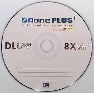 10 Aone Gold Edition Dual Layer DVD+R DL 8X 8.5GB Disc