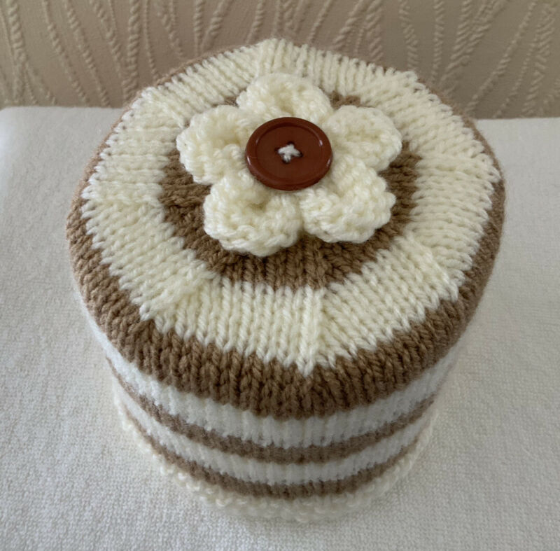 Hand+Knitted+Camel+Brown+%26+Cream+Striped+Toilet+Roll+Holder+with+Flower+Topper