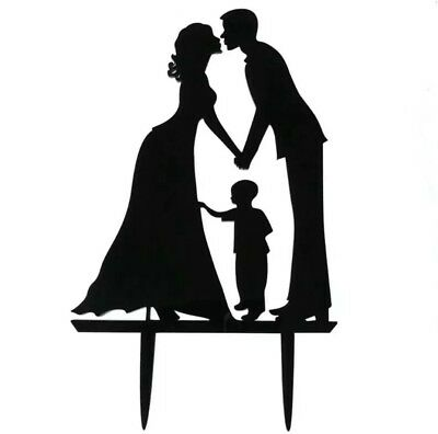 WEDDING CAKE TOPPER-SILHOUETTE BRIDE/FAMILY/BOY/SON-BLACK ACRYLIC DECORATION