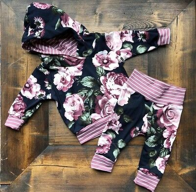 Newborn Baby Boys Girls Flower Hooded Tops Sweatshirt Pants Outfits Clothes 0-3T