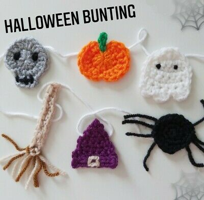 Ghost Pumpkin Skull Spider Halloween Bunting Garland Crochet Handmade Decor