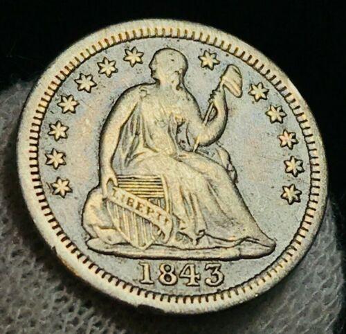 1843 Seated Liberty Half Dime 5C High Grade VF XF+ Good US Silver Coin CC2188