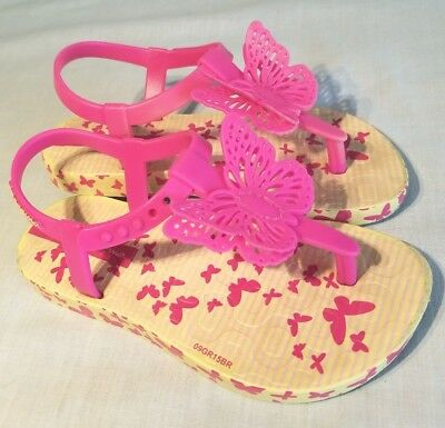 IPANEMA BUTTERFLY PINK GIRLS SANDALS/ FLIP FLOPS, SIZE 27 EUR, SIZE 10 USA
