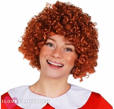 ADULT GINGER CURLY AFRO WIG 70'S MUSICAL ORPHAN GIRL FANCY DRESS ANNIE - Ginger Afro Wig