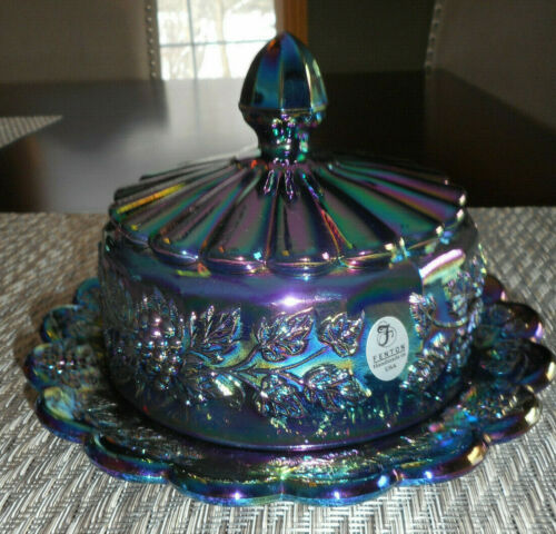 FENTON CARNIVAL GRAPE CLUSTER AND LEAVES LIDDED DISH