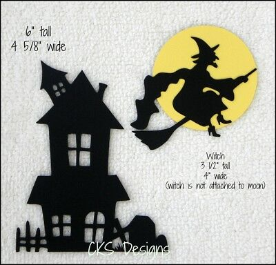 Die Cut Halloween Haunted House Flying Witch Silhouette Scrapbook Paper - Halloween Witch Silhouette