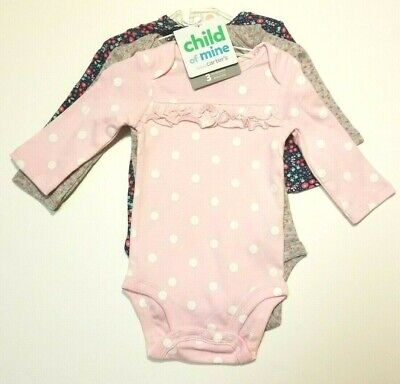 Child of Mine Carters Long Sleeve Bodysuits 3 pack Girls Preemie 0-3 M 18 M NWT  - Mine Girls