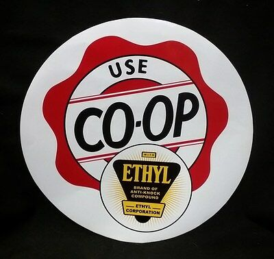 "Ethyl Gasoline Co-op 12"" Gas Pump Decal *Gas & Oil"