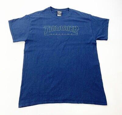 Vintage Thrasher T-shirt Mens Large Navy Blue San Francisco Skateboard Black Tag