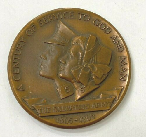 """Salvation Army 100 Years of Service to God and Man 1865-1965 Bronze Medal 2.7"""""""