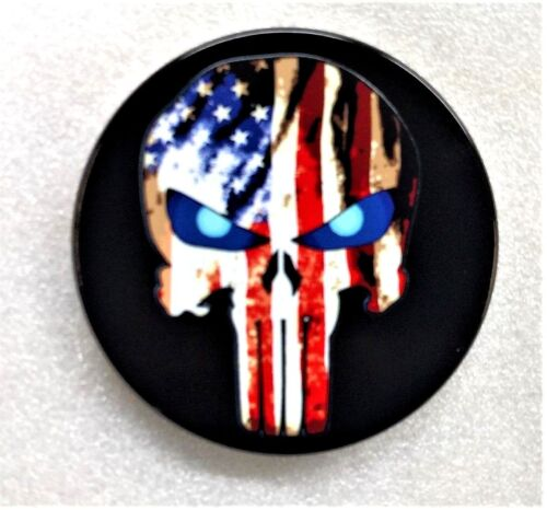 "Punisher Flag Billet Aluminum Trailer Hitch Cover, 5"", UV, Made In USA"