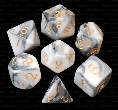 New 7 Piece Black White Gemini Polyhedral Dice Set – Black Bag – RPG D&D Black & White Dice