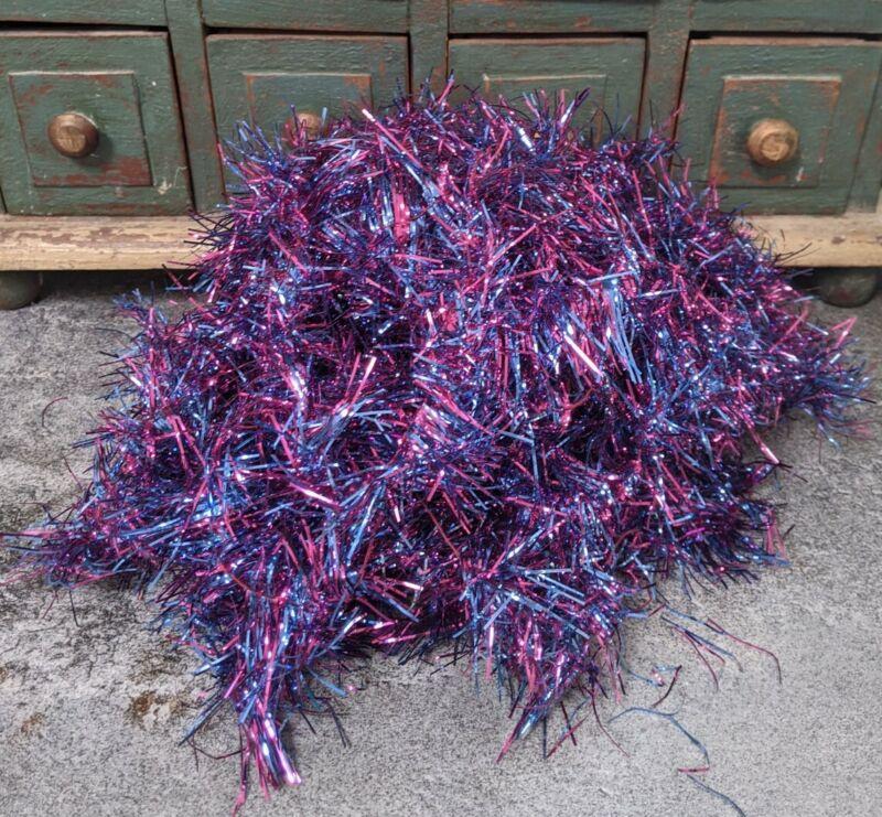 Vintage Pink Blue Christmas Tree Tinsel Garland 33 + Feet HTF Feather Gorgeous!