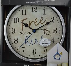 FREE AS A BIRD WALL CLOCK SILVER WALL DECAL BIRDHOUSE GLASS & METAL HANDS Blue