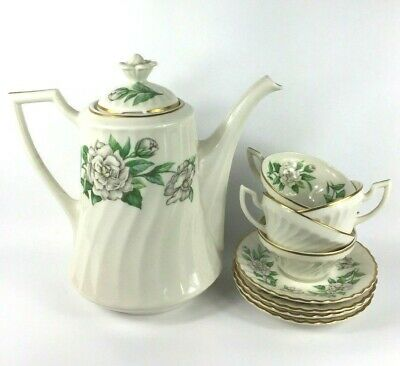 Gardenia by Syracuse China - Coffee Pot with Lid + 4 Demitasse Cup & Saucer Sets Syracuse Gardenia