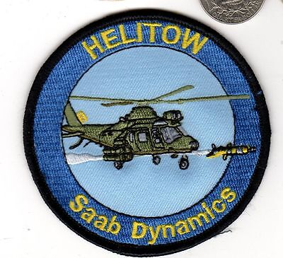 Sweden Saab Dynamics Navy Air Force HELITOW Helicopter Missile Squadron Patch for sale  Hainesport