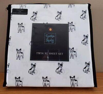 Cynthia Rowley TWIN XL Sheet Set w/ French Bulldogs Dorm Size NIP