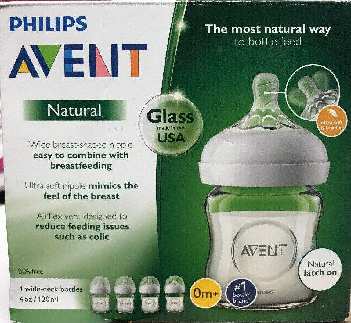 Philips Avent Natural Glass Baby Bottle, 4oz, 4pk, SCF701/47