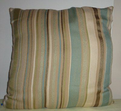 Blue Striped Toss Pillow - Multicolor Blue Brown Beige White Striped Pillow Throw Toss Square Cushion Decor