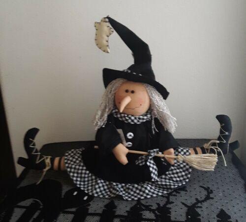 Split Leg Crash Landing Witch w Broom Tabletop Black n White  Delton Halloween
